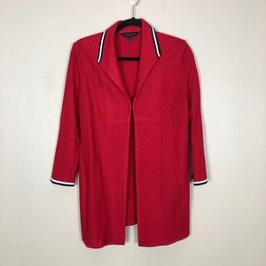 Ming Wang knit cardigan red long large